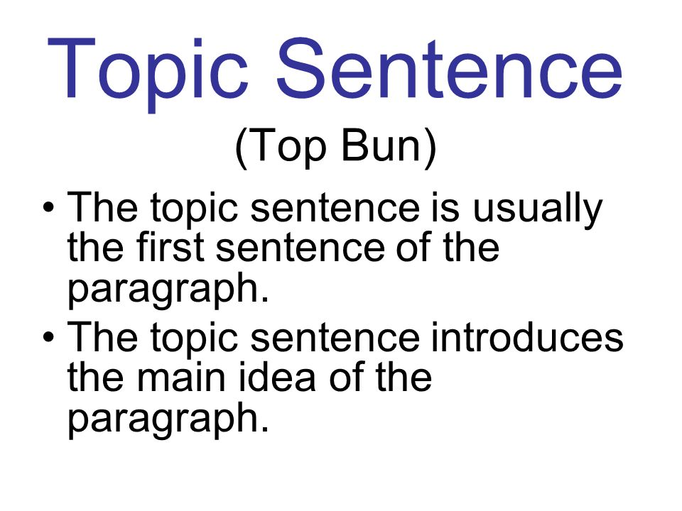 Topic Sentence (Top Bun) The topic sentence is usually the first sentence of the paragraph. The topic sentence introduces the main idea of the paragra