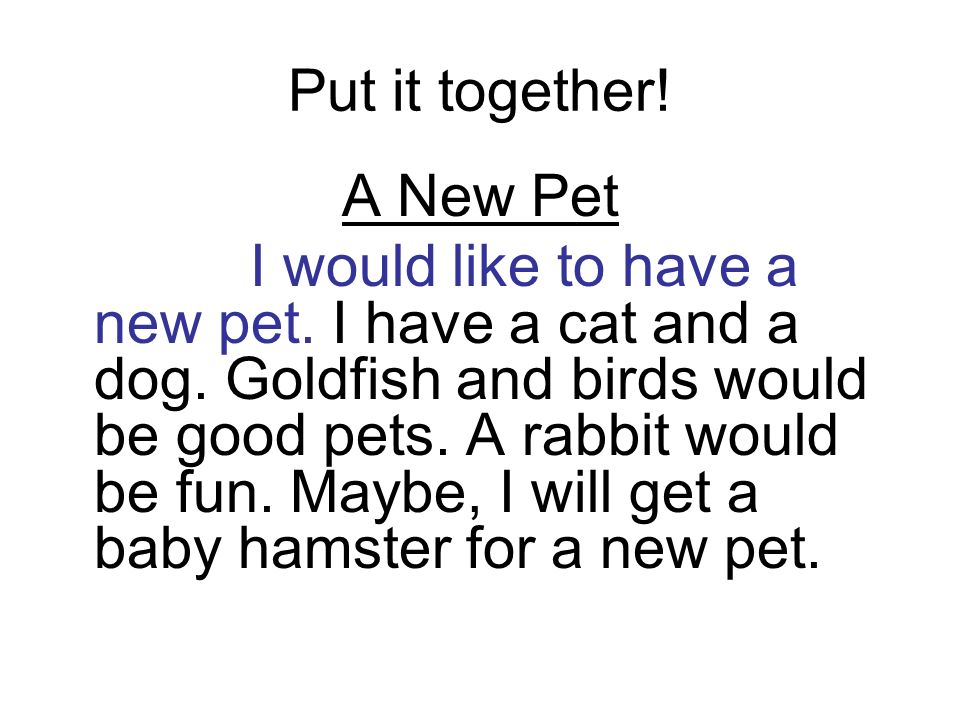 Put it together! A New Pet I would like to have a new pet. I have a cat and a dog. Goldfish and birds would be good pets. A rabbit would be fun. Maybe