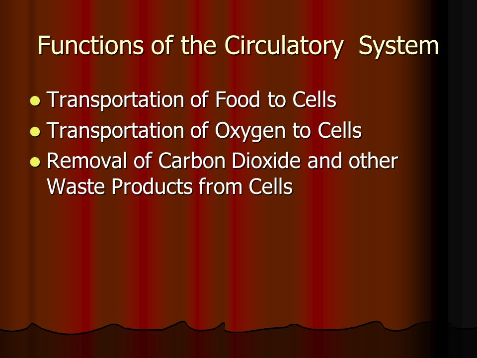 Functions of the Circulatory System Transportation of Food to Cells Transportation of Oxygen to Cells Removal of Carbon Dioxide and other Waste Produc