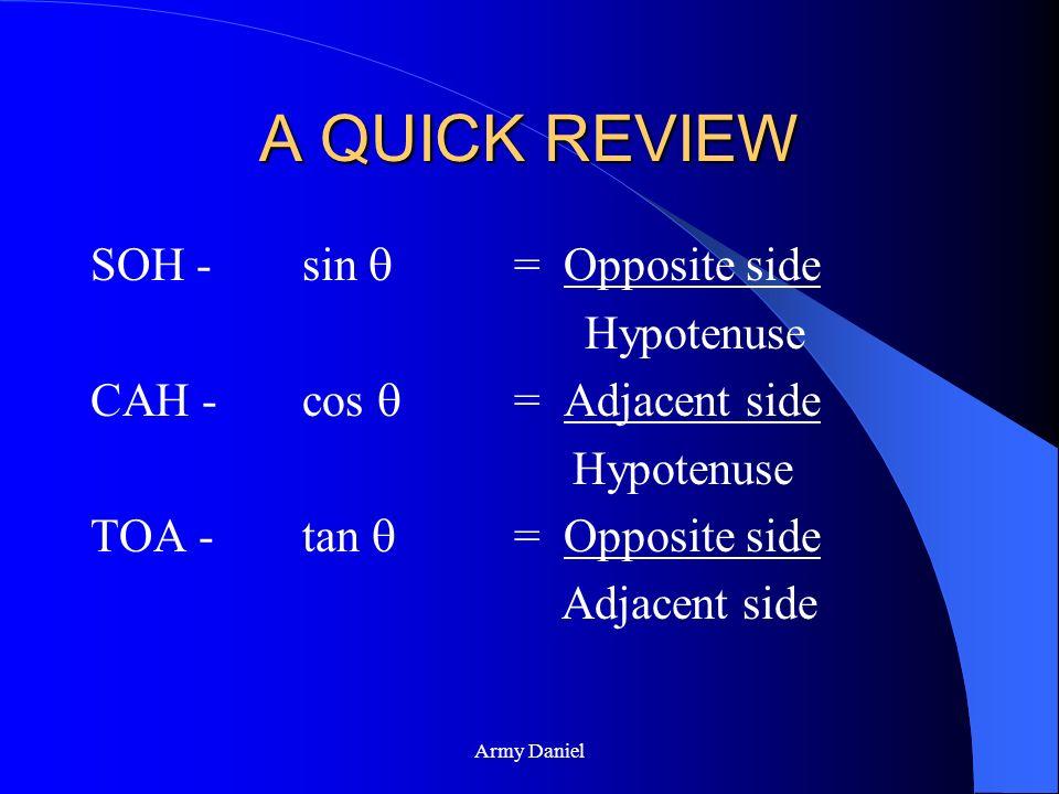 Army Daniel TOA: TAN-OPP-ADJ tan = opposite side adjacent OPPOSITEOPPOSITE ADJACENT HYPOTENUSE
