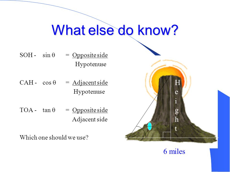 Army Daniel Find the Height of Mt. Sohcahtoa What do we know? = 60° Base = 6 miles = 3 miles 2 6 miles HeightHeight
