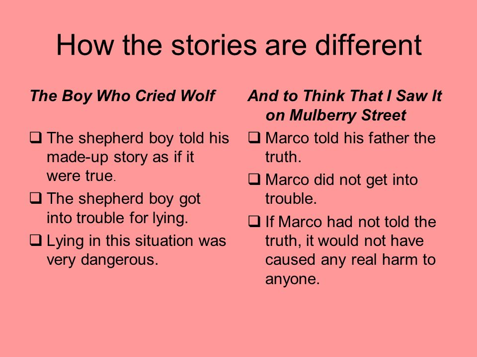 How the stories are different The Boy Who Cried Wolf The shepherd boy told his made-up story as if it were true.
