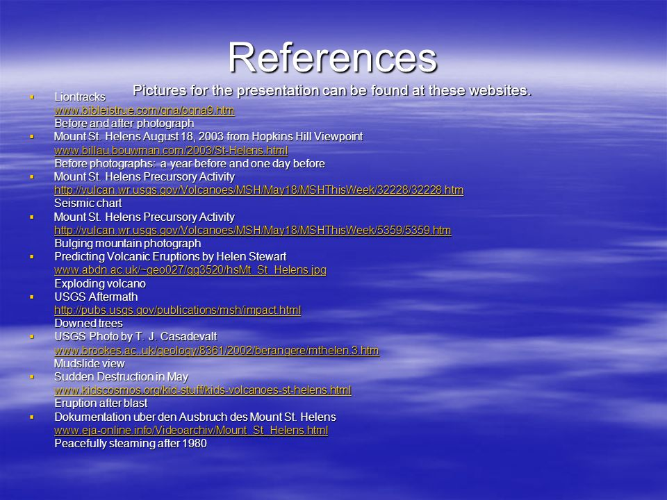 References Pictures for the presentation can be found at these websites. Liontracks Liontracks www.bibleistrue.com/qna/pqna9.htm Before and after phot