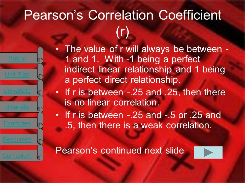 Rubric Unit Plan Univariate Bivariate Examples Resources Curriculum Pearsons Correlation Coefficient (r) The value of r will always be between - 1 and 1.