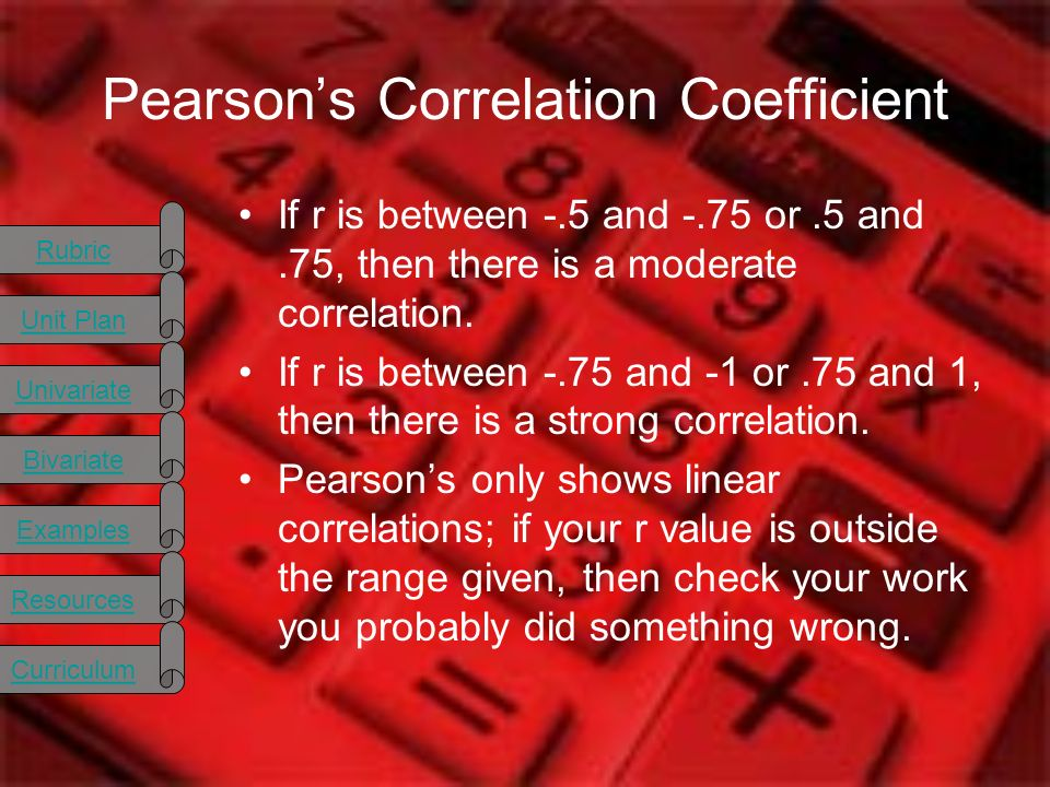 Rubric Unit Plan Univariate Bivariate Examples Resources Curriculum Pearsons Correlation Coefficient If r is between -.5 and -.75 or.5 and.75, then there is a moderate correlation.