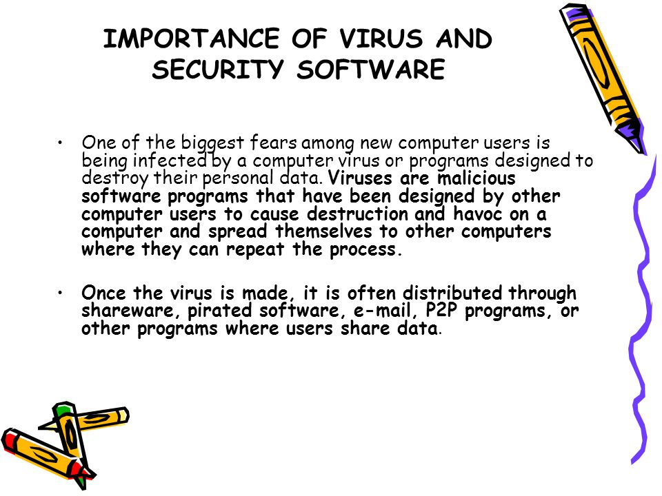 IMPORTANCE OF VIRUS AND SECURITY SOFTWARE One of the biggest fears among new computer users is being infected by a computer virus or programs designed