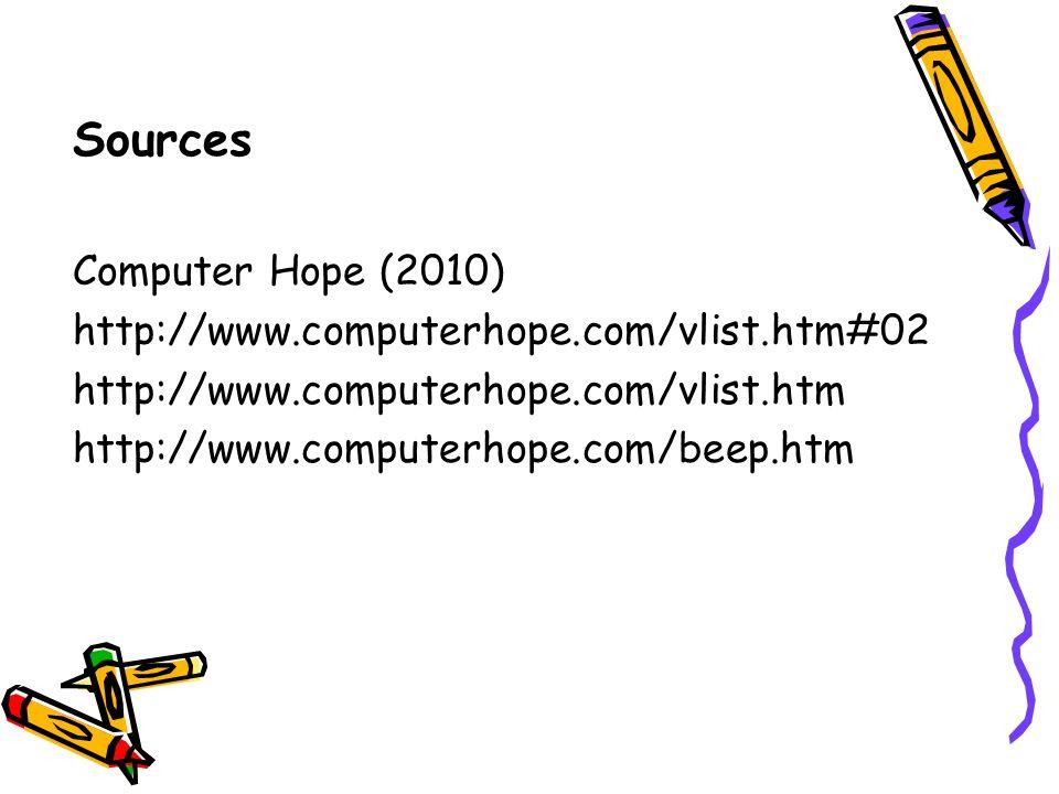Sources Computer Hope (2010) http://www.computerhope.com/vlist.htm#02 http://www.computerhope.com/vlist.htm http://www.computerhope.com/beep.htm