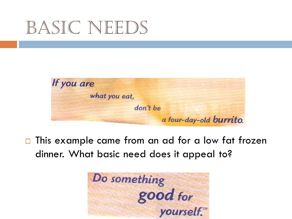 Basic Needs The basic needs technique tries to connect your need for Love Safety and security Convenience Health Money to agreement with the writers o