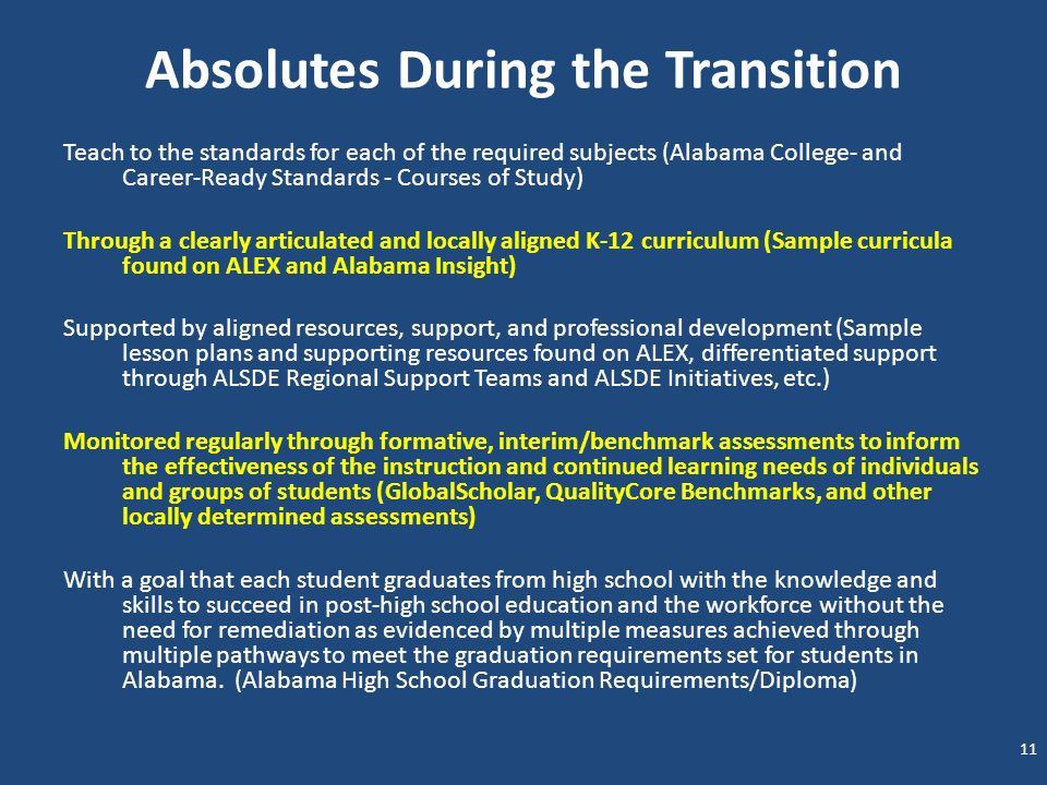Absolutes During the Transition Teach to the standards for each of the required subjects (Alabama College- and Career-Ready Standards - Courses of Stu