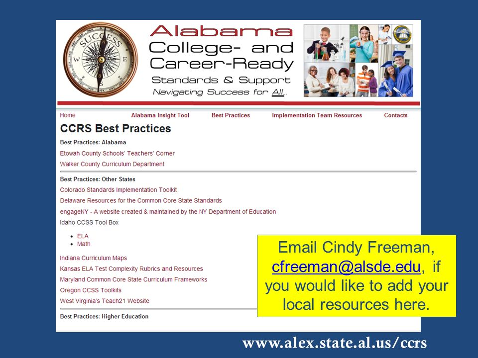 Email Cindy Freeman, cfreeman@alsde.edu, if you would like to add your local resources here. cfreeman@alsde.edu www.alex.state.al.us/ccrs