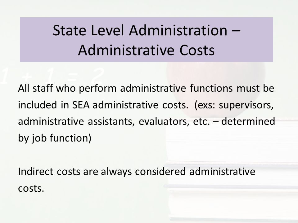 State Level Administration – Administrative Costs All staff who perform administrative functions must be included in SEA administrative costs.