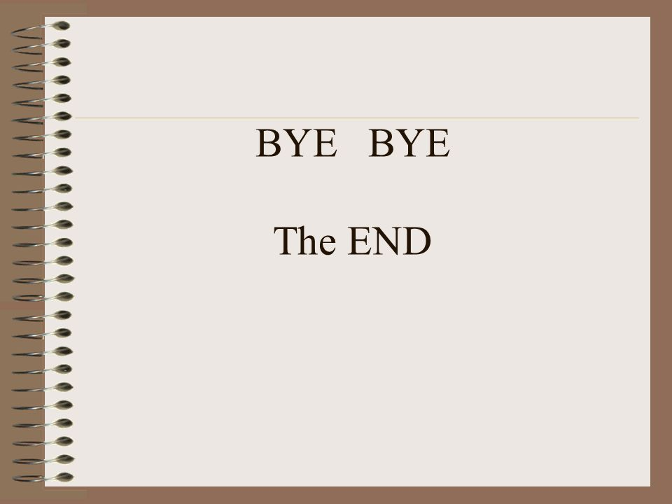 BYE BYE The END
