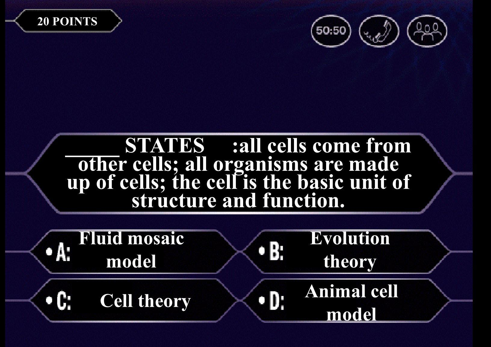 The basic unit of life is a(n) cell airtissue 20 POINTS _____ STATES :all cells come from other cells; all organisms are made up of cells; the cell is the basic unit of structure and function.