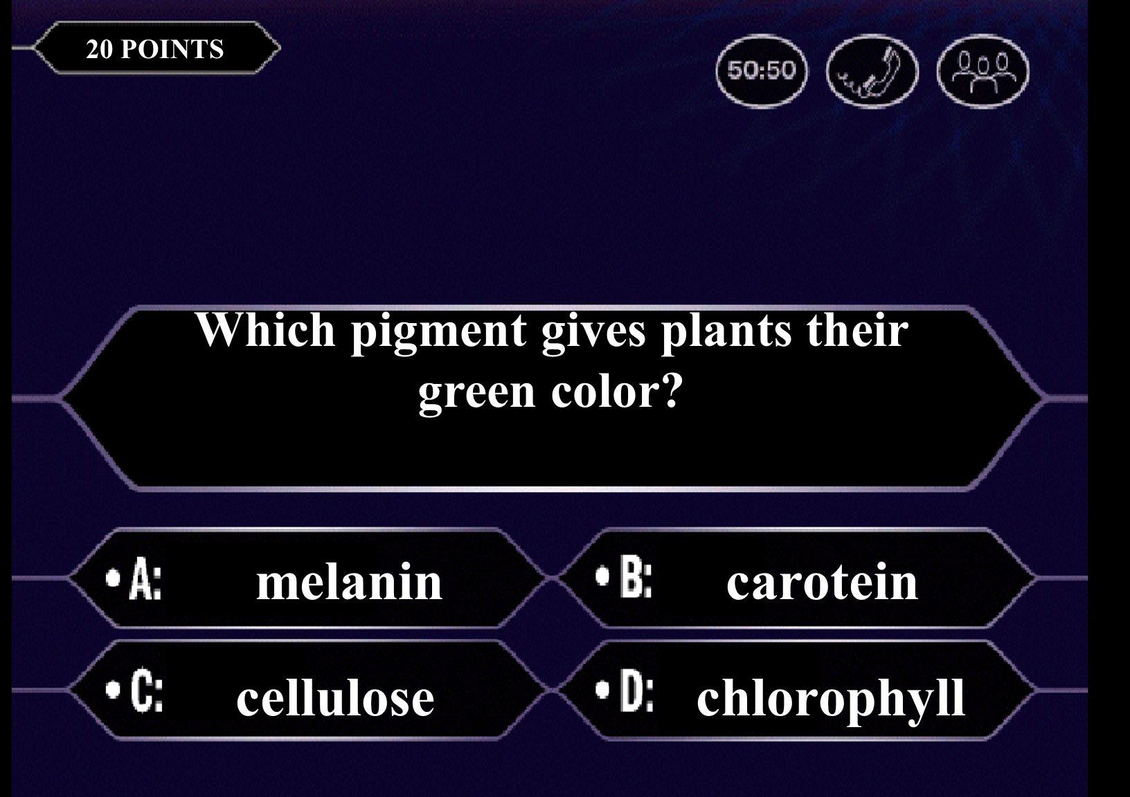 The basic unit of life is a(n) cell airtissue 20 POINTS Which pigment gives plants their green color.