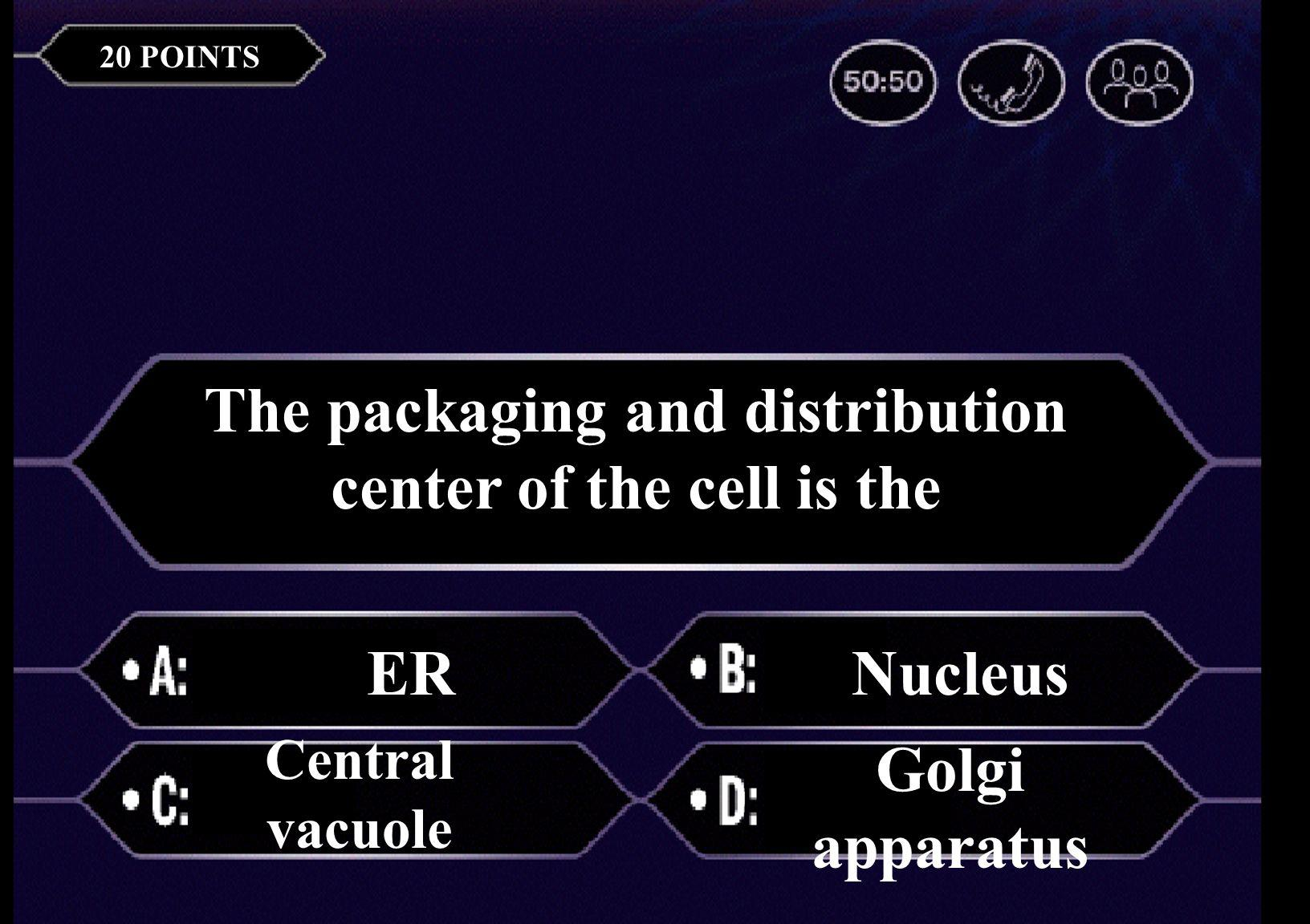 The basic unit of life is a(n) cell airtissue 20 POINTS The packaging and distribution center of the cell is the ERNucleus Central vacuole Golgi apparatus