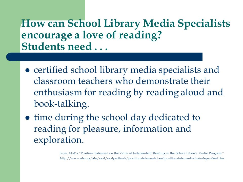 How can School Library Media Specialists encourage a love of reading.
