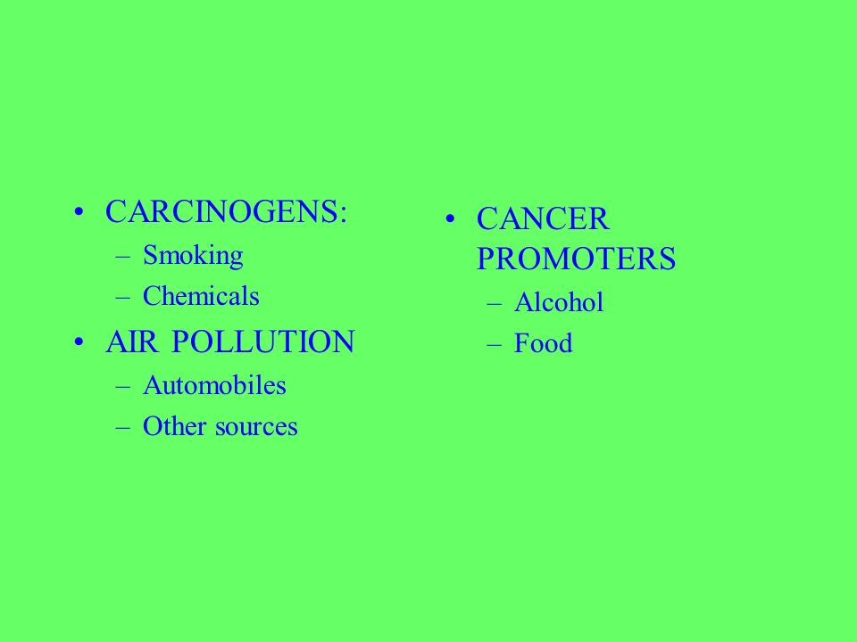 CARCINOGENS: –Smoking –Chemicals AIR POLLUTION –Automobiles –Other sources CANCER PROMOTERS –Alcohol –Food