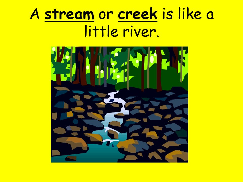 A river is a long body of water that flows across the land.