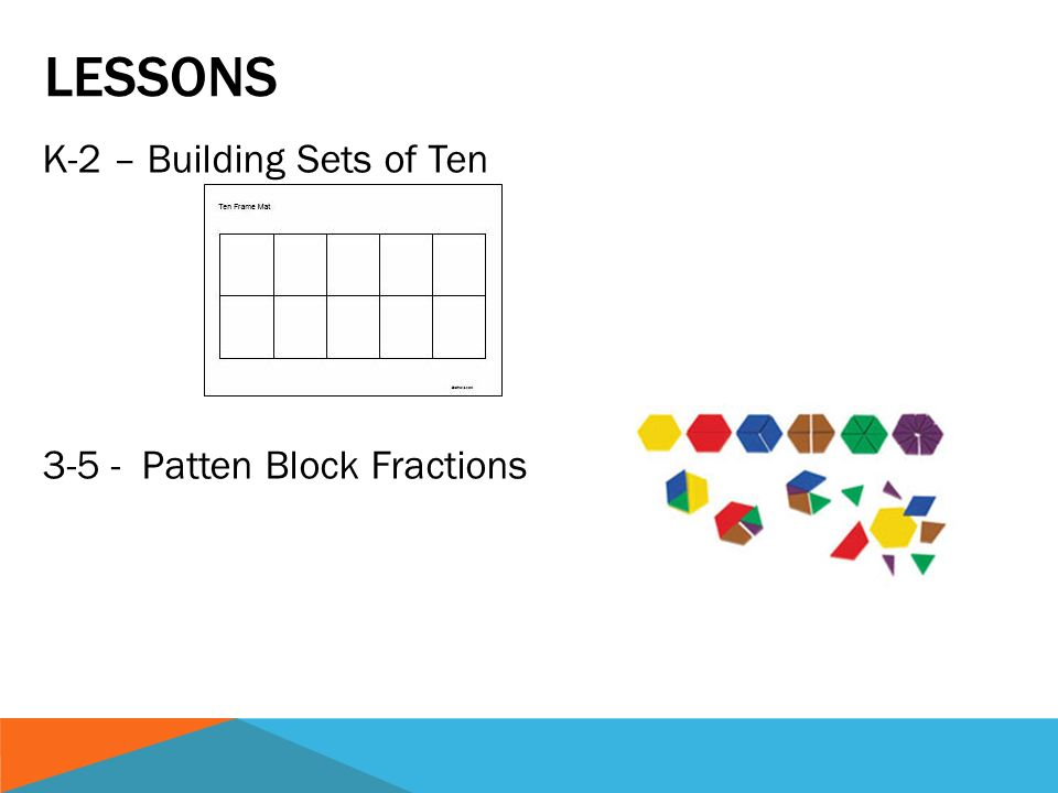 LESSONS K-2 – Building Sets of Ten 3-5 - Patten Block Fractions