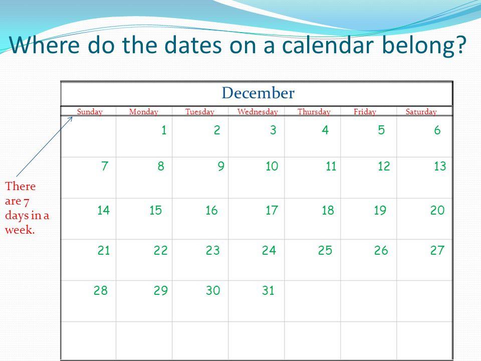 Where do the days of the week belong? MondayTuesdayWednesdayFridayThursdaySaturdaySunday There are 7 days in a week.