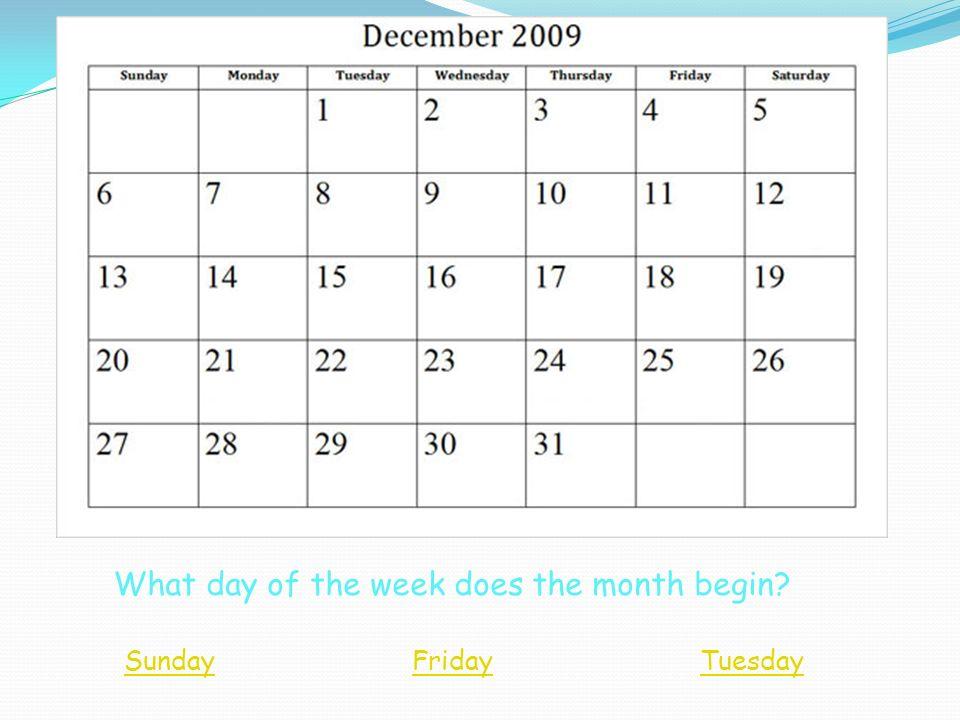 Where do the dates on a calendar belong? December MondayTuesdayWednesdayFridayThursdaySaturdaySunday There are 7 days in a week. 123546 10913128117 14