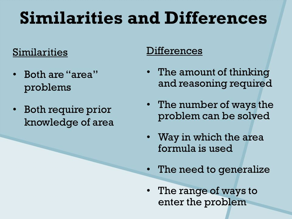 Similarities and Differences Similarities Both are area problems Both require prior knowledge of area Differences The amount of thinking and reasoning