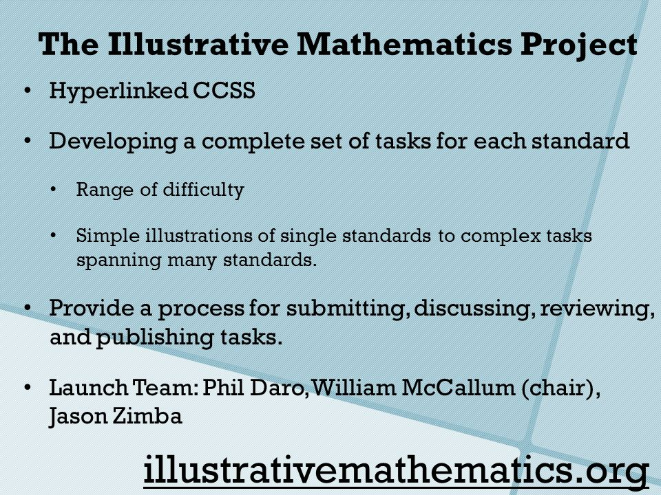 The Illustrative Mathematics Project Hyperlinked CCSS Developing a complete set of tasks for each standard Range of difficulty Simple illustrations of