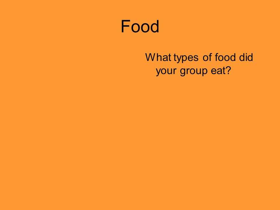 Food What types of food did your group eat?
