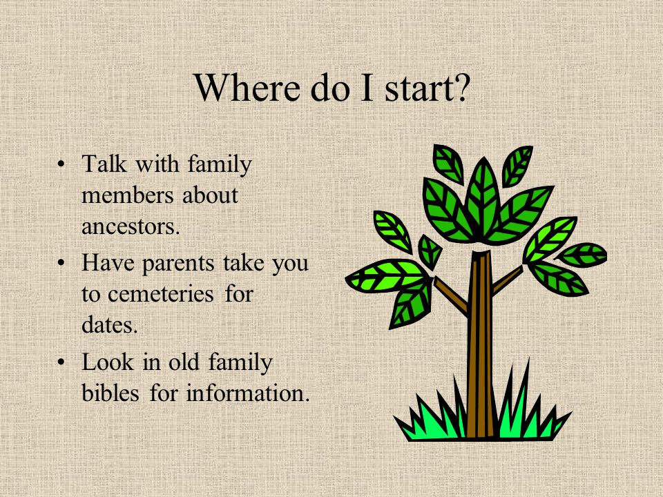 What is family history? A study of the history of your family. Learning about customs of the time. What new technologies were used.