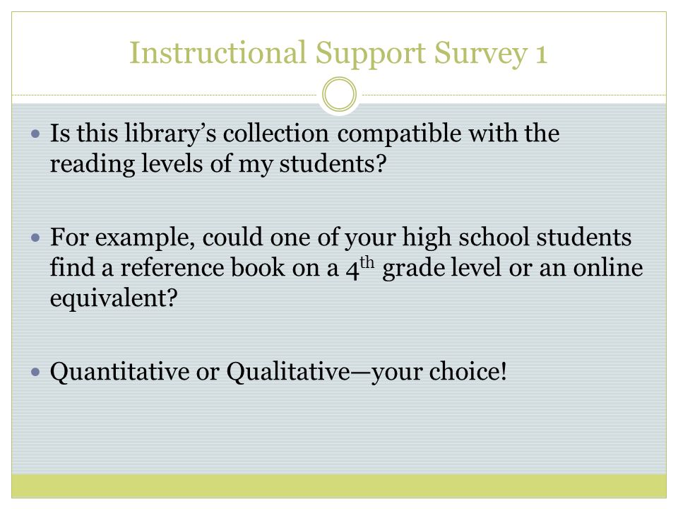 Instructional Support Survey 1 Is this librarys collection compatible with the reading levels of my students.