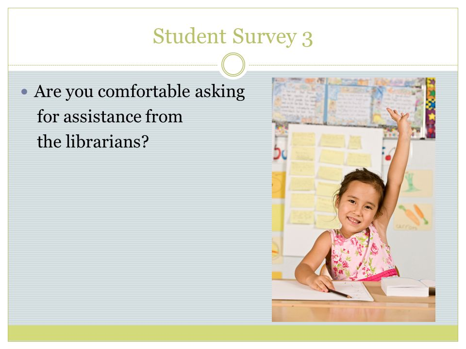 Student Survey 3 Are you comfortable asking for assistance from the librarians