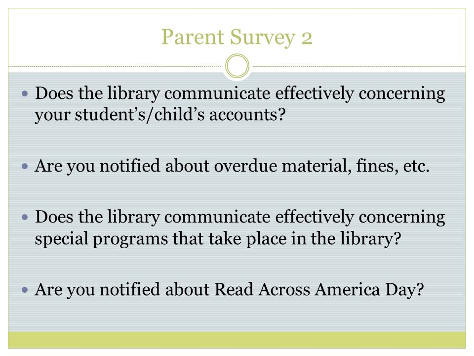 Parent Survey 2 Does the library communicate effectively concerning your students/childs accounts.