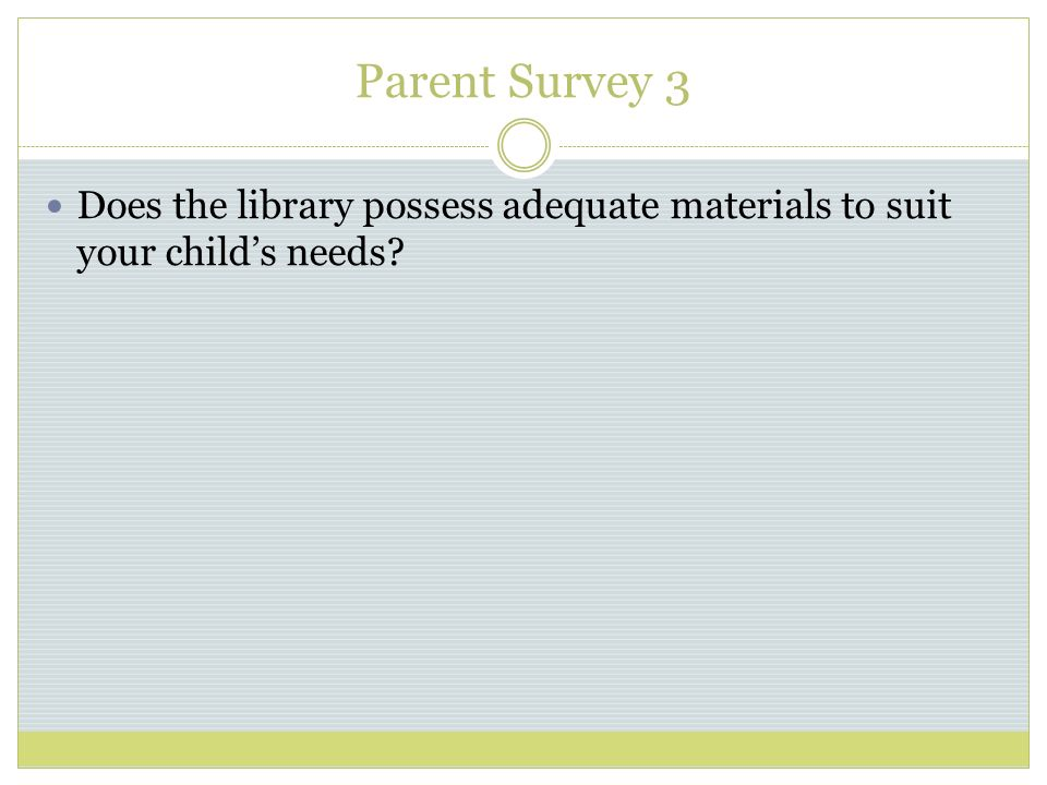 Parent Survey 3 Does the library possess adequate materials to suit your childs needs