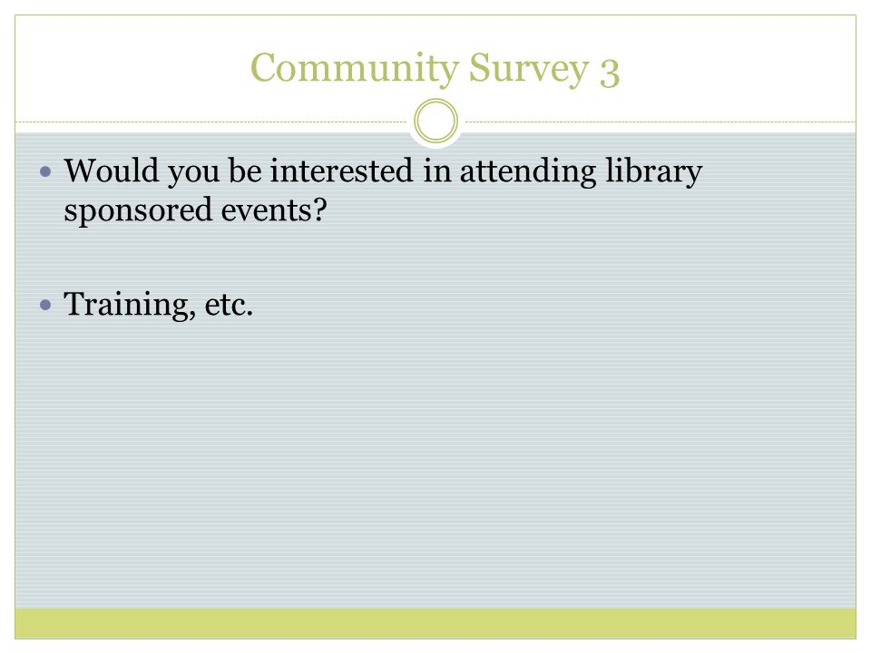 Community Survey 3 Would you be interested in attending library sponsored events Training, etc.