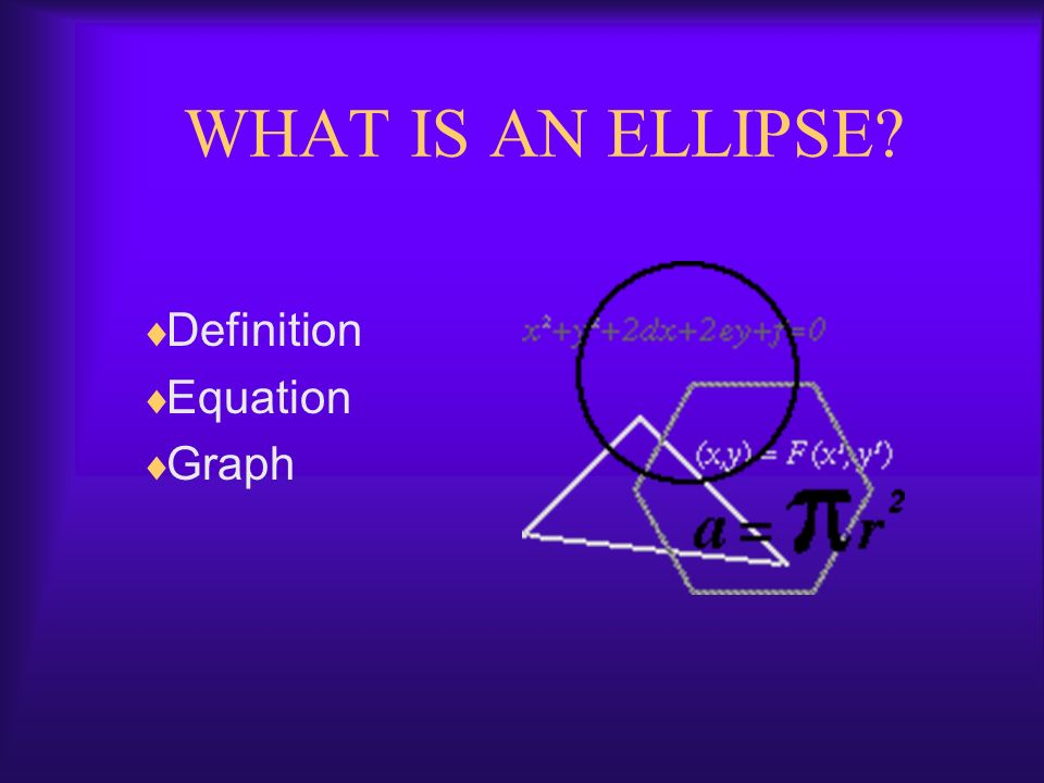 WHAT IS AN ELLIPSE? Definition Equation Graph