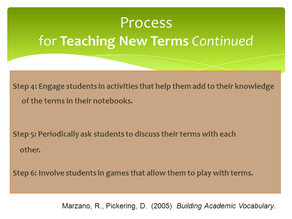 Step 4: Engage students in activities that help them add to their knowledge of the terms in their notebooks. Step 5: Periodically ask students to disc