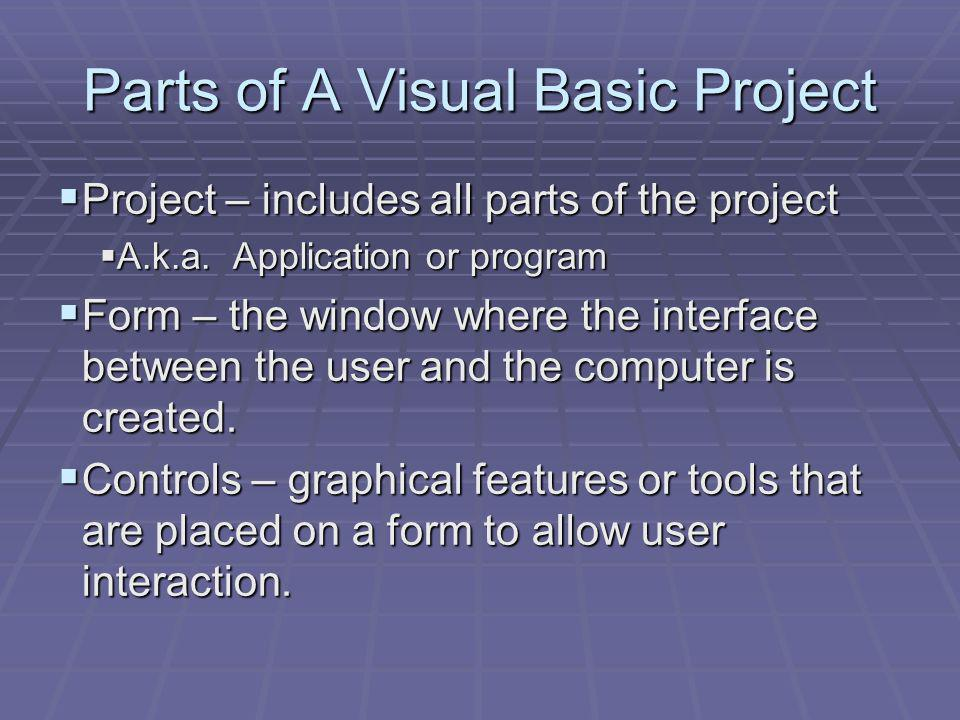 Parts of A Visual Basic Project Project – includes all parts of the project Project – includes all parts of the project A.k.a.