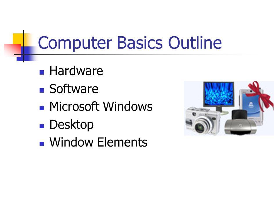 Computer Basics Outline Hardware Software Microsoft Windows Desktop Window Elements