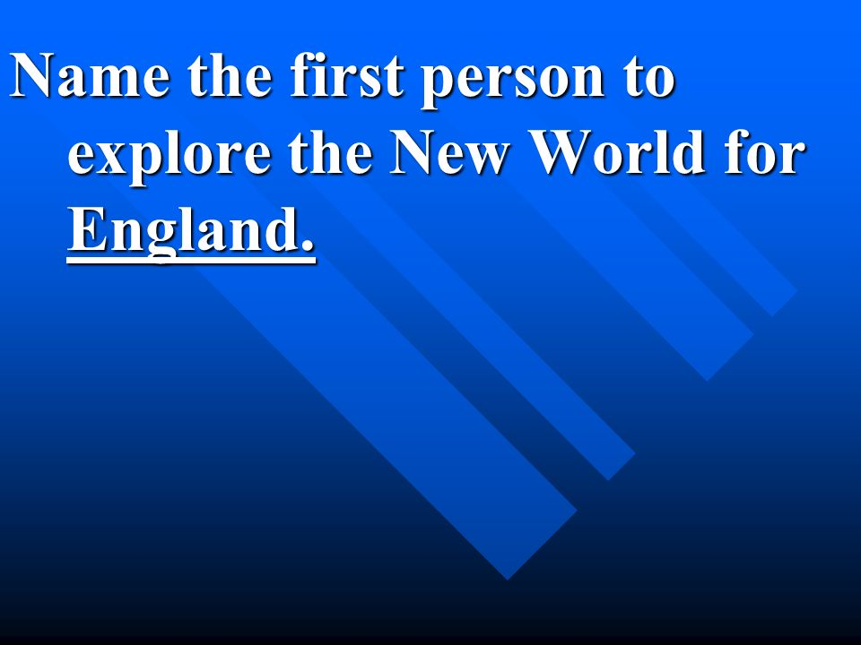 Name the first person to explore the New World for England.