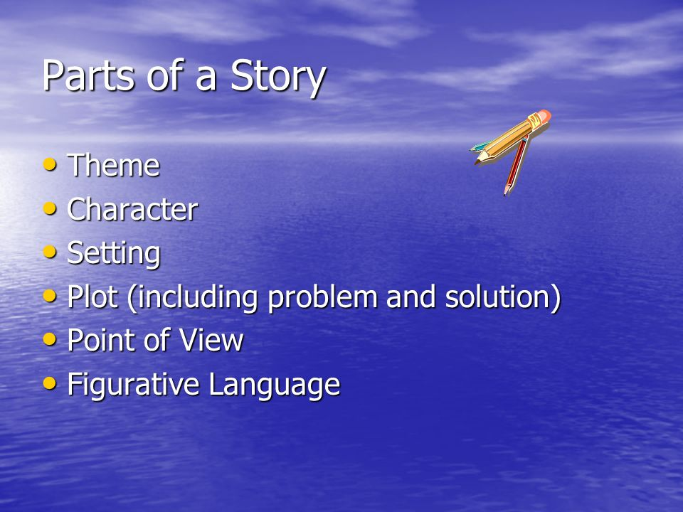 Parts of a Story Theme Theme Character Character Setting Setting Plot (including problem and solution) Plot (including problem and solution) Point of View Point of View Figurative Language Figurative Language