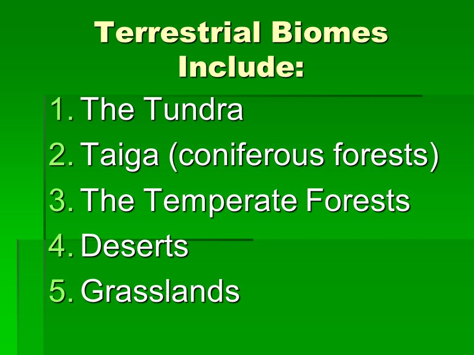 Terrestrial Biomes Include: 1.The Tundra 2.Taiga (coniferous forests) 3.The Temperate Forests 4.Deserts 5.Grasslands