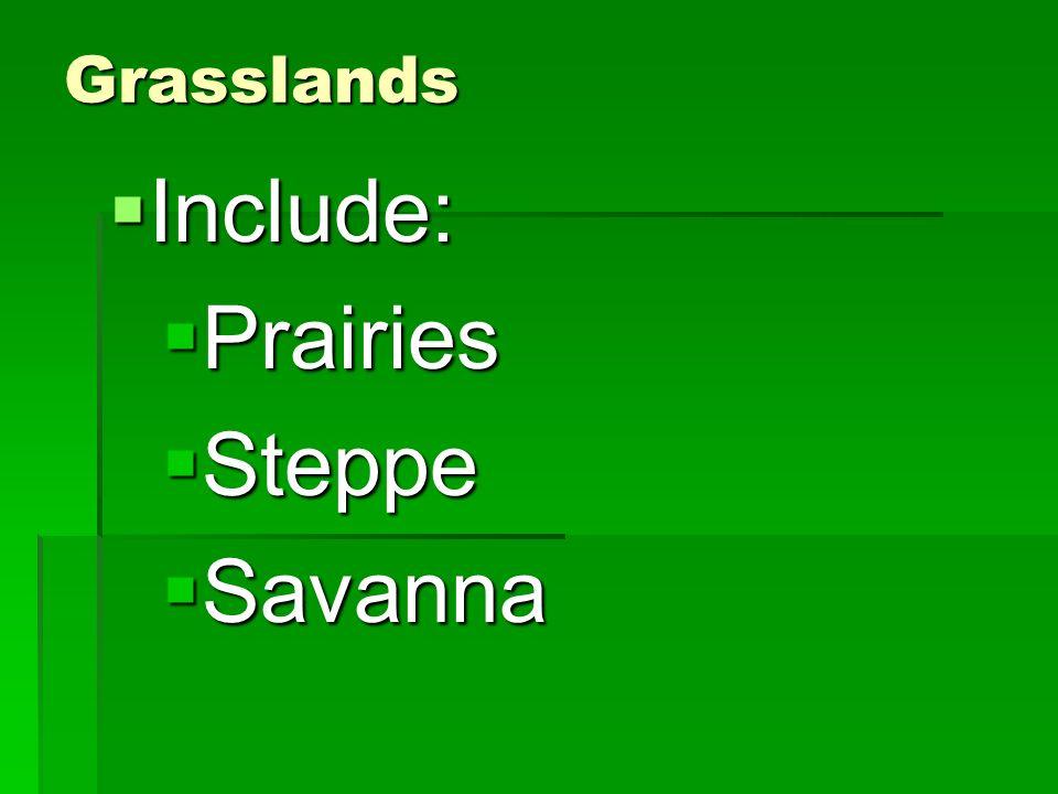 Grasslands Include: Include: Prairies Prairies Steppe Steppe Savanna Savanna