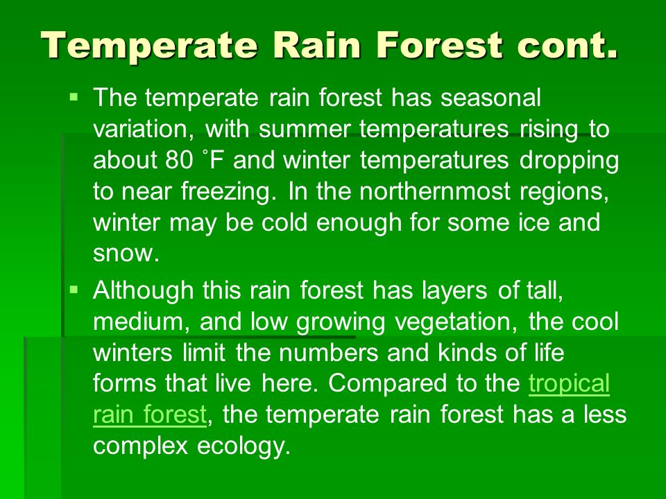 Temperate Rain Forest cont. The temperate rain forest has seasonal variation, with summer temperatures rising to about 80 ˚F and winter temperatures d