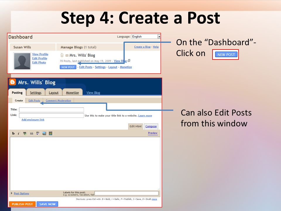 Step 4: Create a Post On the Dashboard- Click on Can also Edit Posts from this window