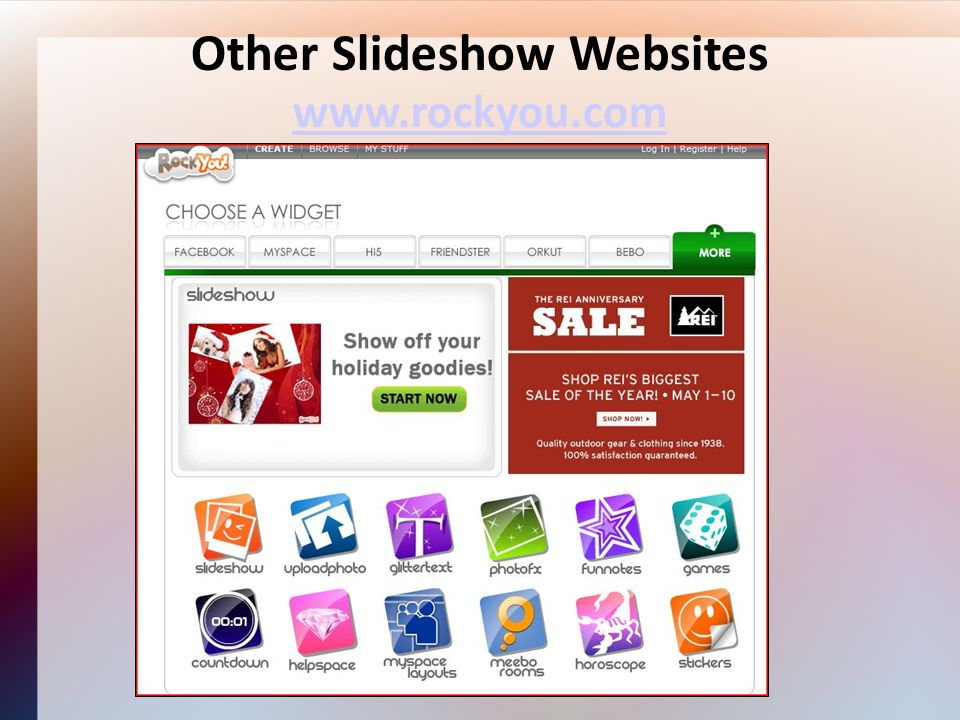 Other Slideshow Websites www.rockyou.com