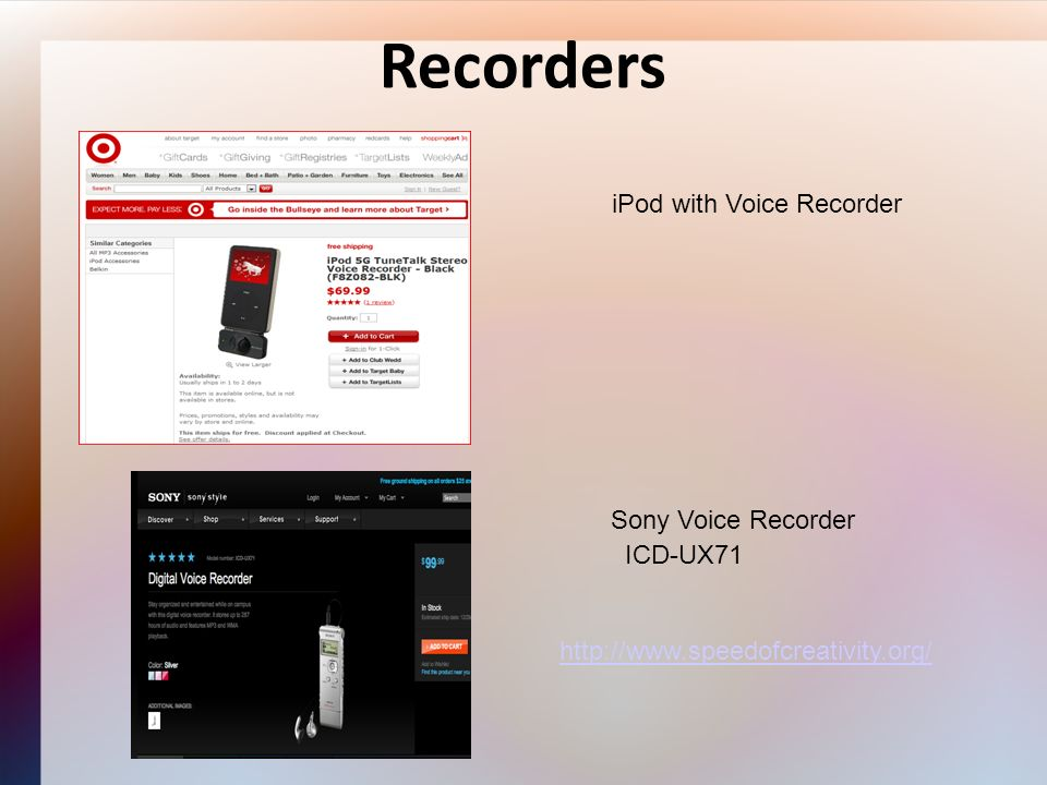 Recorders iPod with Voice Recorder Sony Voice Recorder ICD-UX71 http://www.speedofcreativity.org/