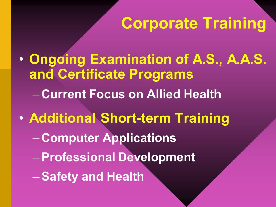 Corporate Training Insurance & Licensure –Three Credit Courses through Licensure Exam Information Technology –Four New Certificate Programs Apprenticeships and Internships –New Internship Coordinator –New A.S.