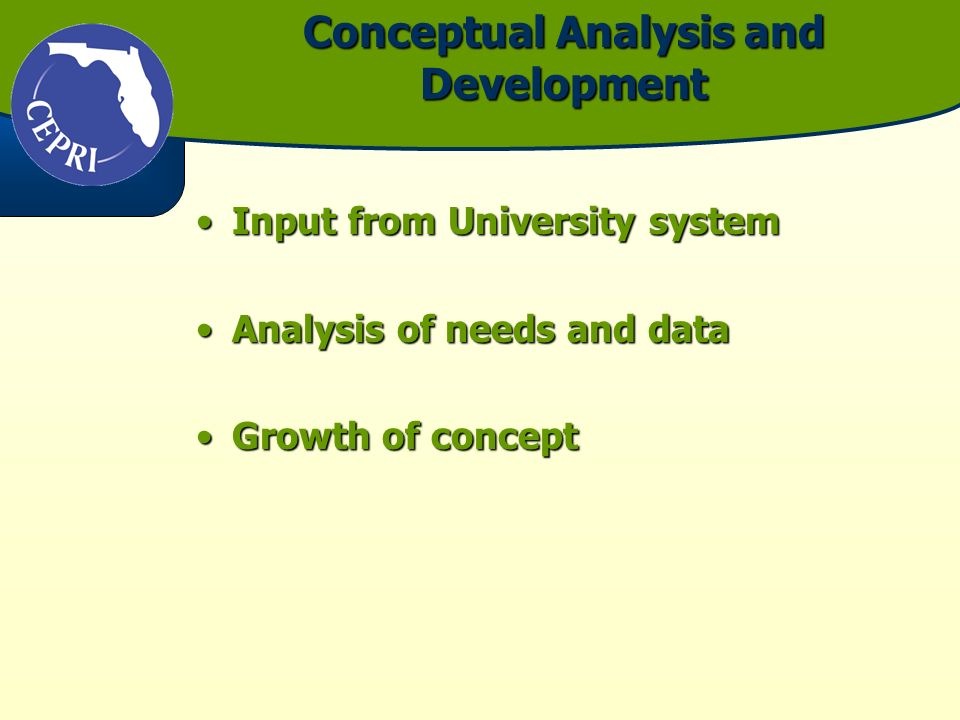 Conceptual Analysis and Development Input from University systemInput from University system Analysis of needs and dataAnalysis of needs and data Growth of conceptGrowth of concept