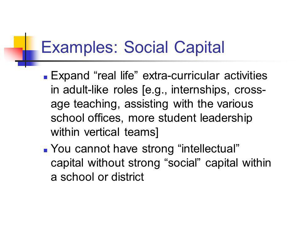 Examples: Social Capital Expand real life extra-curricular activities in adult-like roles [e.g., internships, cross- age teaching, assisting with the