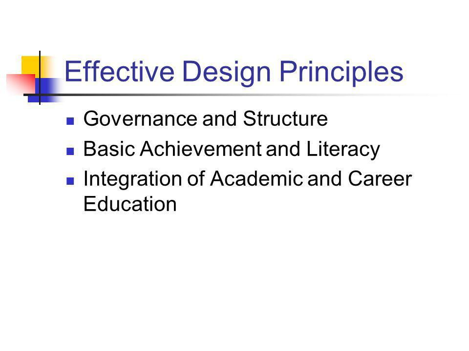Effective Design Principles Governance and Structure Basic Achievement and Literacy Integration of Academic and Career Education
